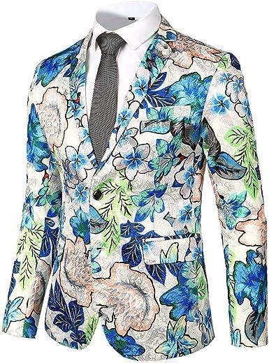 Chaquetas de Traje Estampada Floral Casual para Hombre Slim Fit Trajes de un botón Abrigo Casual de Manga Larga Chaqueta Boda Blazers de Negocios Elegante Capa Tallas Grandes Camisas Top Gusspower: Amazon.es: