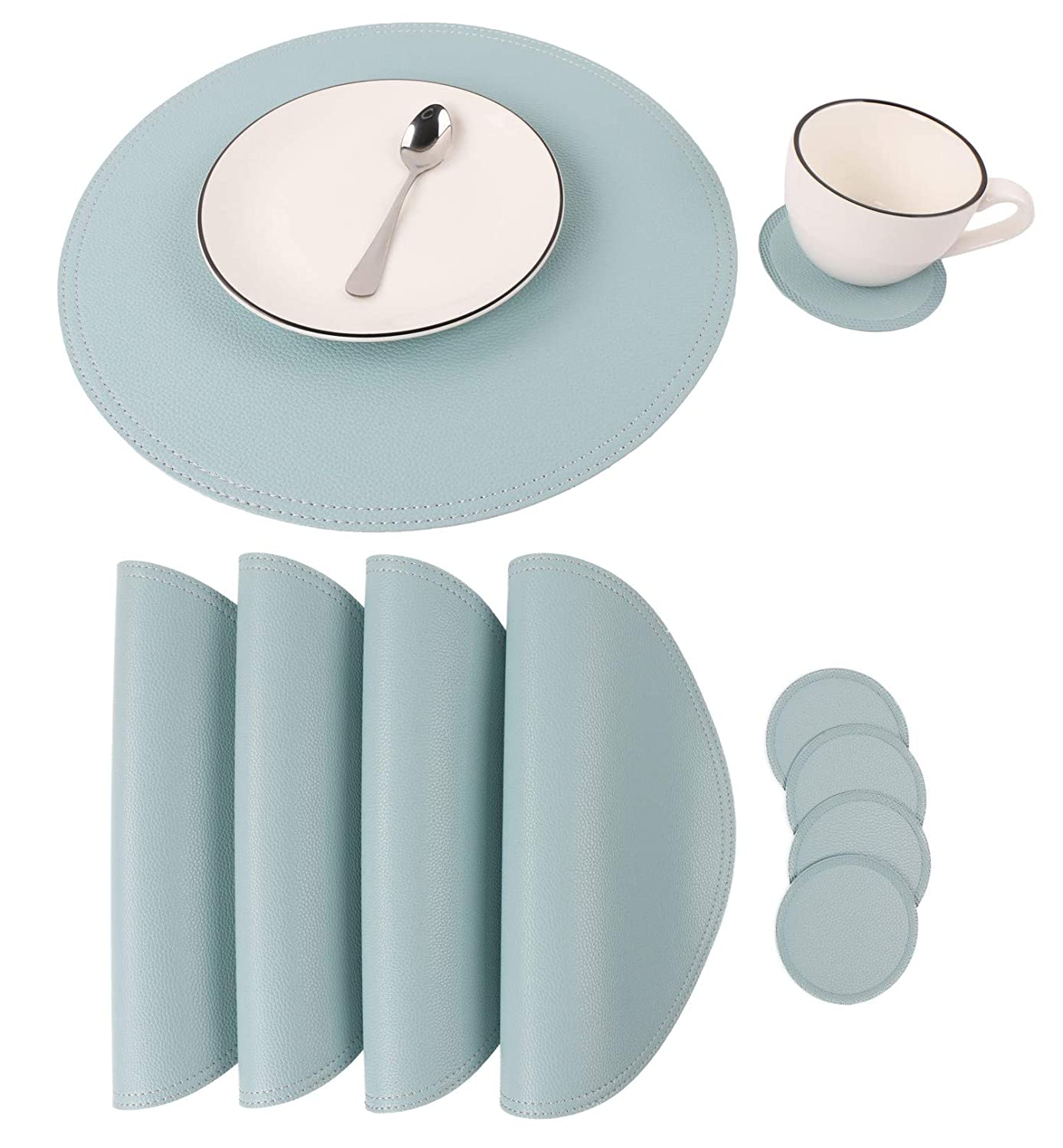 Jovono Faux Leather Round Placemats and Coasters, Coffee Mats Kitchen Table Mats, Waterproof, Easy to Clean for Kitchen Dining Round Table