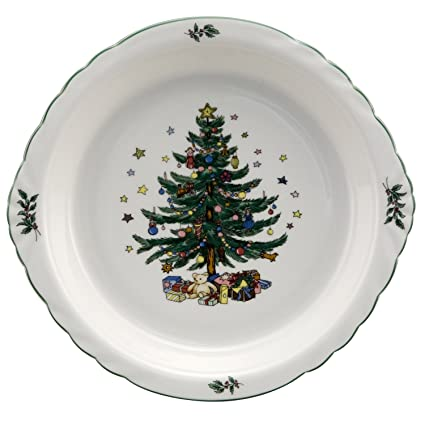 Amazon.com: Nikko Christmas Ovenware Pie Plate: Pie Pans: Kitchen ...