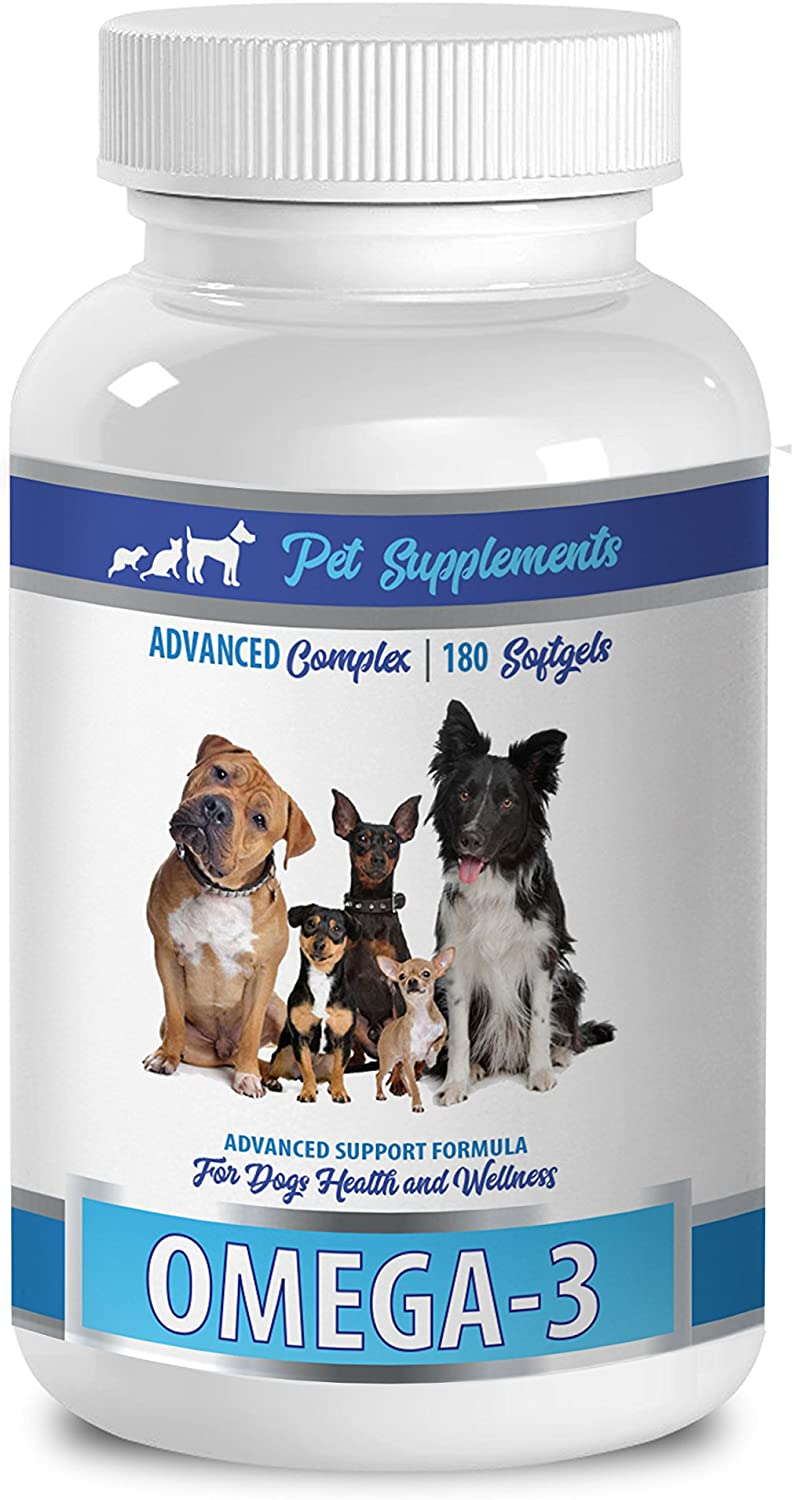 Anti inflammatory Supplement for Dogs - Omega 3 - Advanced Complex - Health & Wellness - for Dogs - Omega 3 for Dogs Capsule - 1 Bottle (180 Softgels)