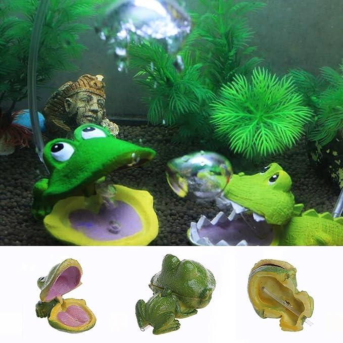 Deendeng - Figura decorativa para acuario, diseño de rana con burbujas de aire, piedra de oxígeno, bomba de oxígeno, tanque de peces: Amazon.es: Jardín