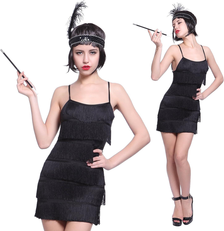 maboobie - Disfraz de charlestón para Mujer Vestido con Flecos ...