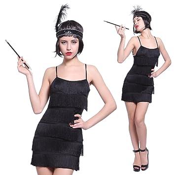 maboobie disfraz de charlestón para mujer vestido con flecos para