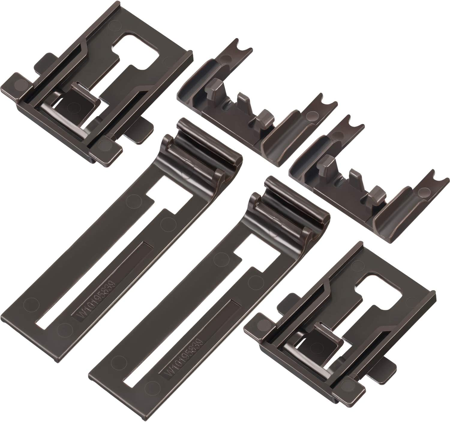 Hotop 6 Pieces Dishwasher Replacements Includes W10195839 Dishwasher Rack Adjuster W10195840 Dishwasher Positioner W10250160 Adjuster Arm Clip-lock Compatible with Kenmore and More