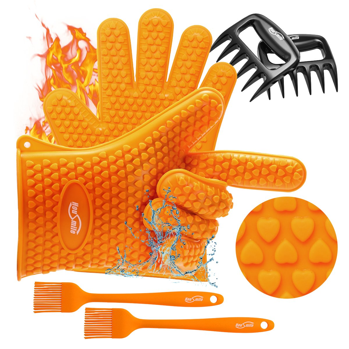 Housmile Grilling Silicone Gloves, Meat Claws & Non-Slip Basting Brush, Heat Resistant Barbecue Gloves BBQ Cooking Tool for Grilling, Baking and Barbecue - 3Pcs