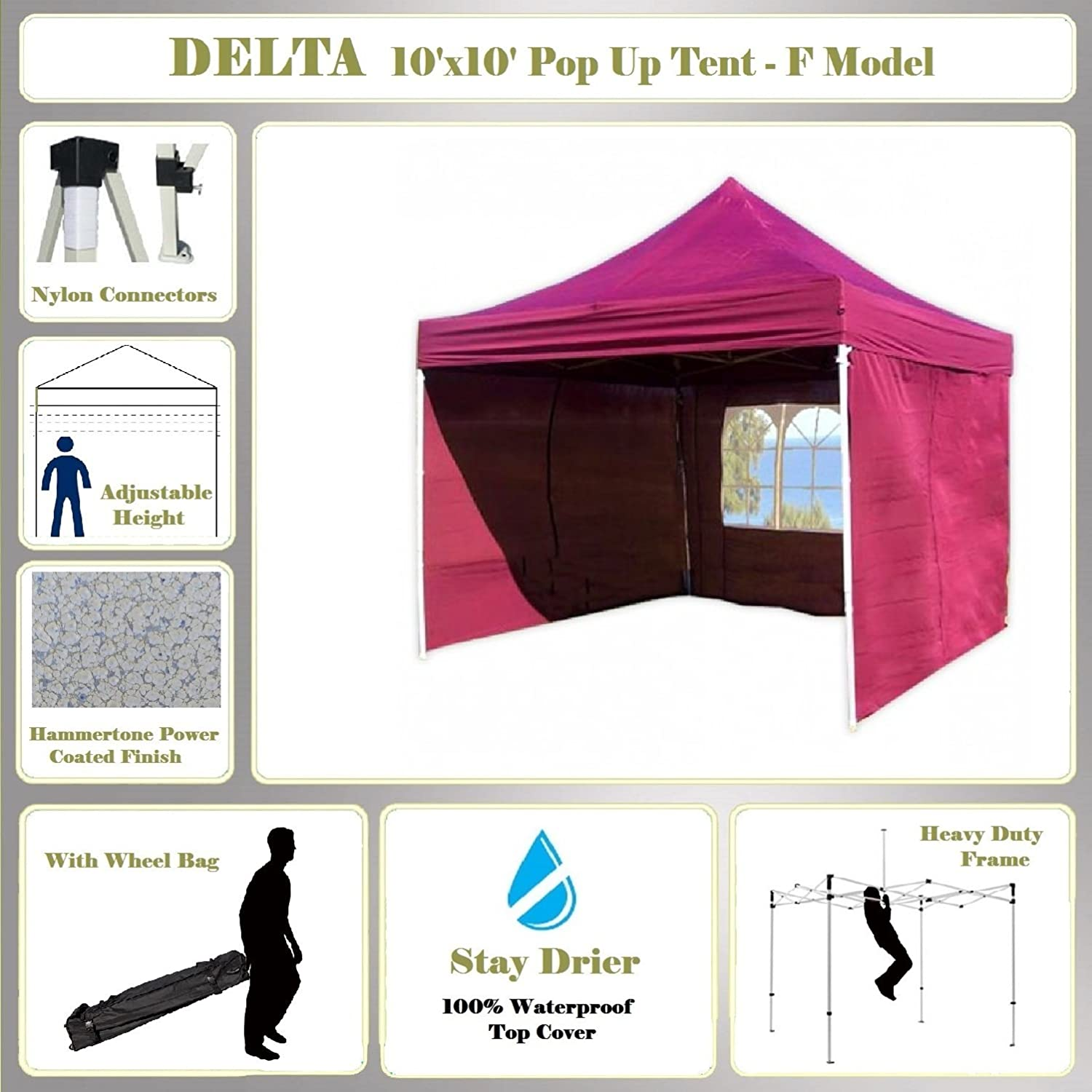 Amazon.com 10u0027x10u0027 Pop up Canopy Wedding Party Tent Gazebo EZ Maroon - F Model Commercial Frame By DELTA Canopies Garden u0026 Outdoor  sc 1 st  Amazon.com & Amazon.com: 10u0027x10u0027 Pop up Canopy Wedding Party Tent Gazebo EZ ...