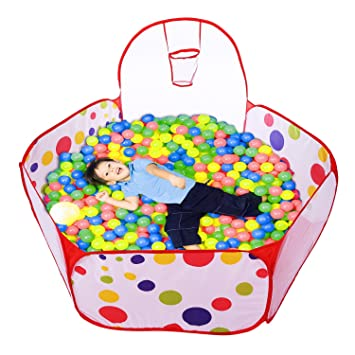 1.5m Kids Ball Pit Tent Playpen With Basketball Hoop And Zippered Storage Bag For Toddlers Pets Indoor Outdoor Playing Storage Bags
