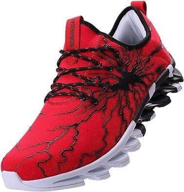 LSGEGO - Zapatillas de Running de Caucho para Hombre, Color Rojo, Talla 39 2/3 EU: Amazon.es: Zapatos y complementos