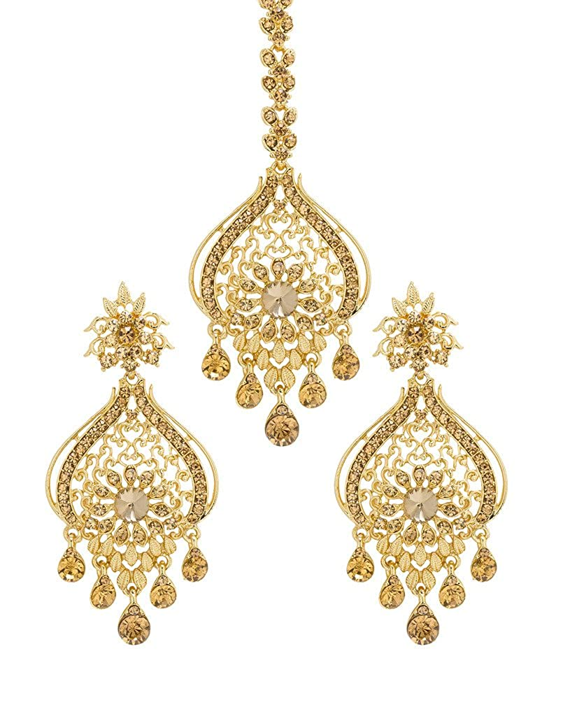 Bridal & Wedding Party Jewelry Bindhani Indian Wedding Head Gold Plated Jewelry Maang Tikka Earrings For Women