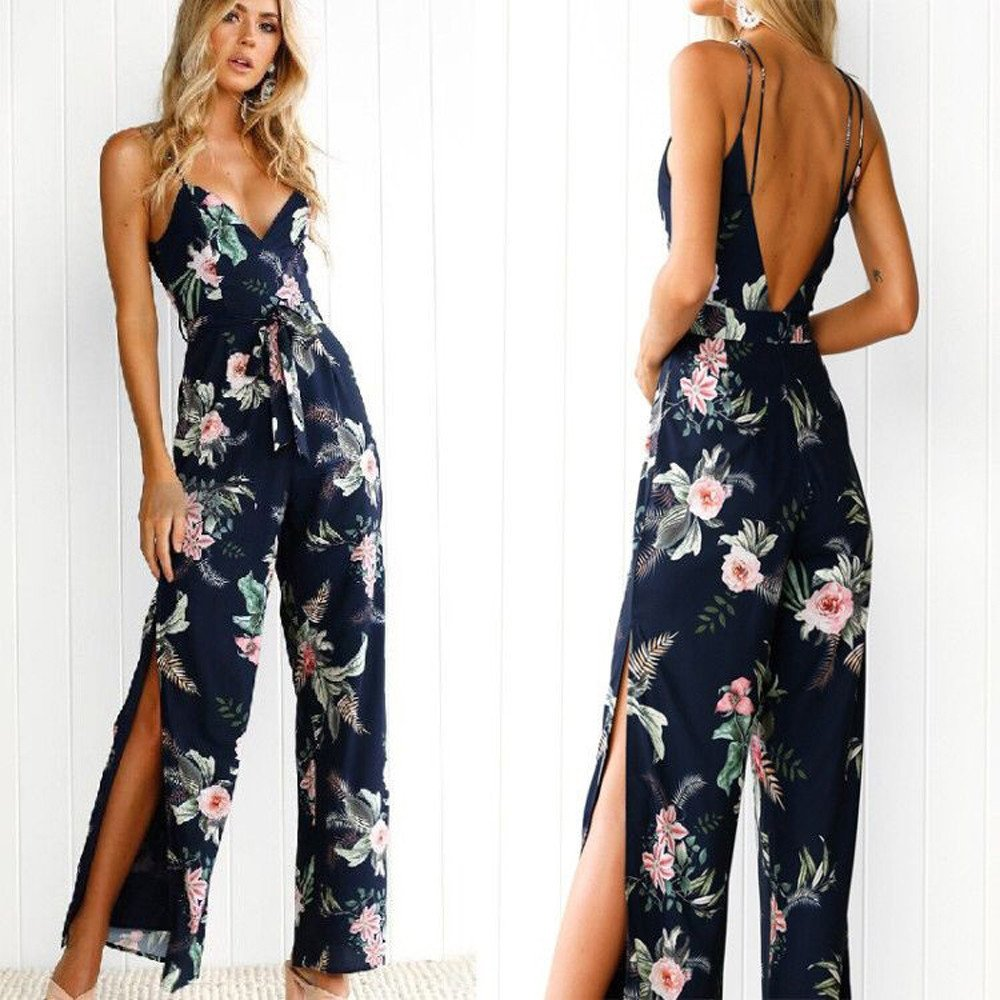 VICCKI Women Fashion Jumpsuit V-Neck Floral Printed Sleeveless Party Casual Bodysuit