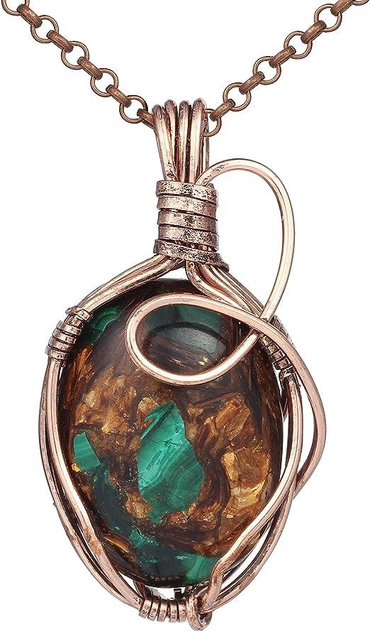 Amazon Com Bonnie Handmade Wire Necklace Natural Stone Agate