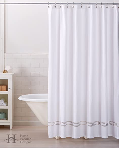 Lucianna Collection 100 Cotton Heavyweight Embroidered Decorative 72quot X Shower Curtain With