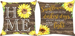 Munzong Set of 2 Sunflower Throw Pillow Covers 20 x 20 Inch, Double Sided Rustic Country Chic Pillowcases, Square Summer Cushion Cover for Home Bedroom Decor Gift for Sunflower Lovers or Housewarming