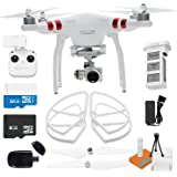 DJI Phantom 3 Standard Quadcopter Drone with 2.7k Video Camera HD Video Recording + Genuine Propeller Guards + Self-tightening Propeller and 32GB MicroSDHC + Card Reader + Cleaning Cloth