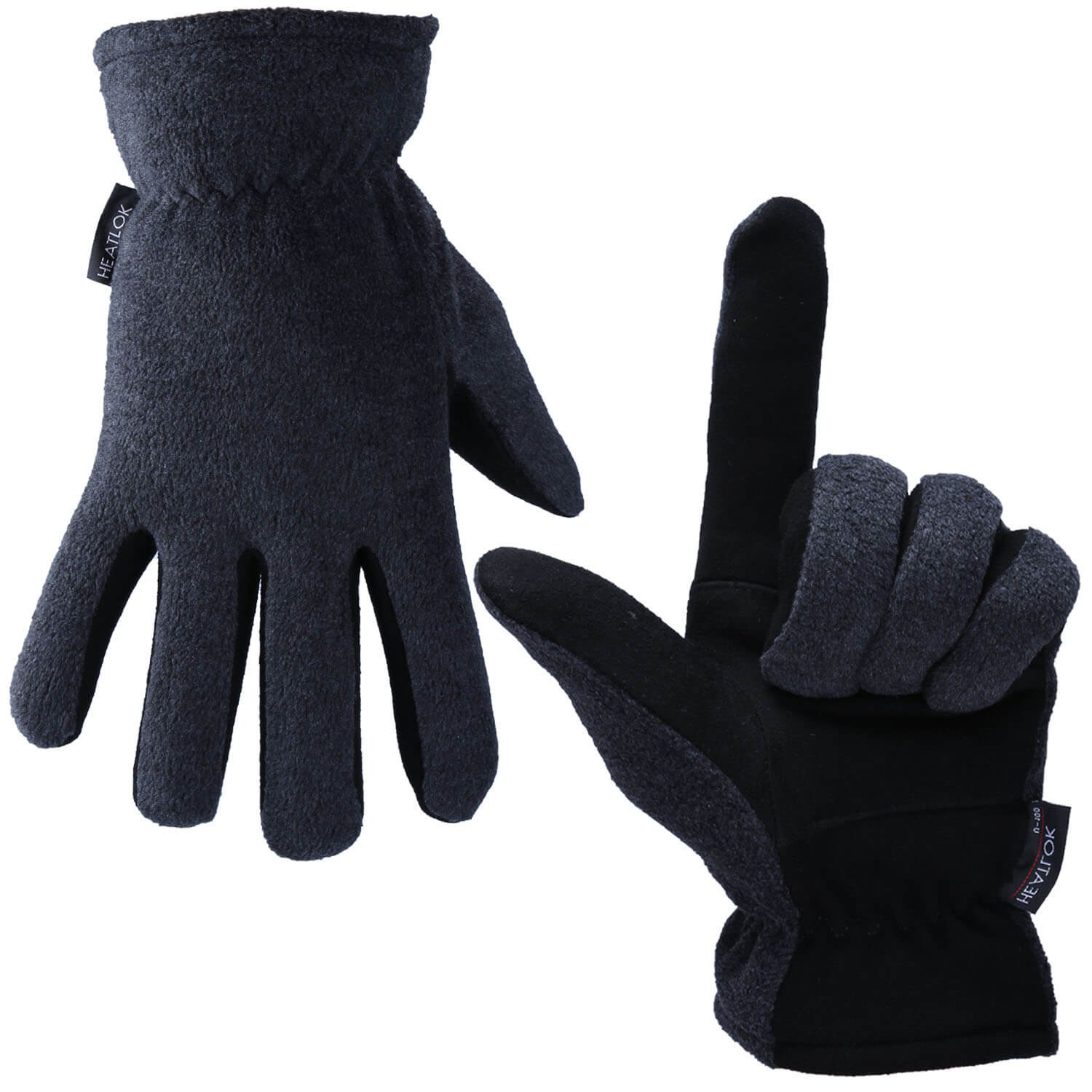 OZERO Deerskin Suede Leather Palm and Polar Fleece Back with Heatlok Insulated Cotton Layer Thermal Gloves, Large - Grey-Black