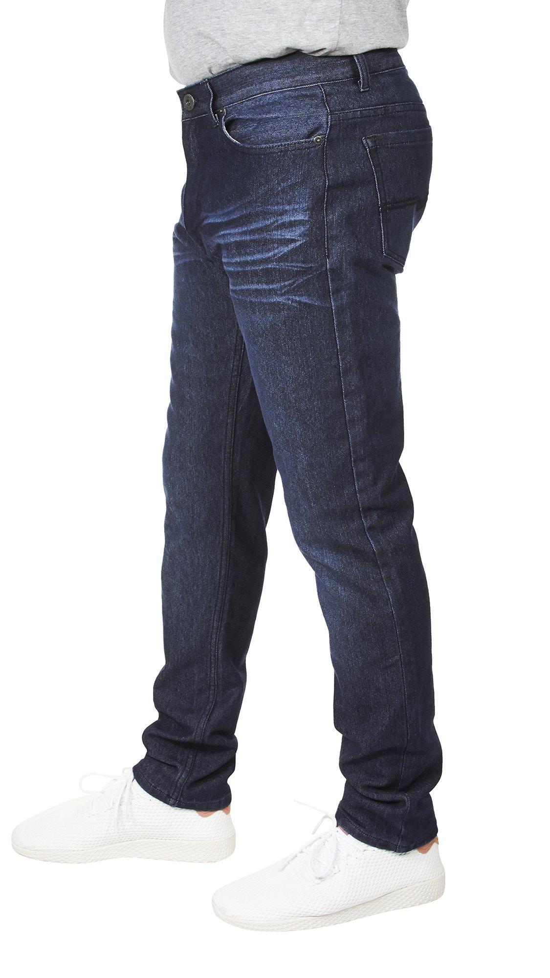 VINTAGE GENES 1899 Mens Stretch Slim Washed Denim Jeans Blue Wrinkle 36X32 by VINTAGE GENES (Image #2)