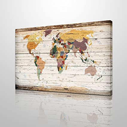 Amazon xlarge vertical wood styled map canvas prints framed xlarge vertical wood styled map canvas prints framed vintage world map home wall decoration art gumiabroncs Choice Image