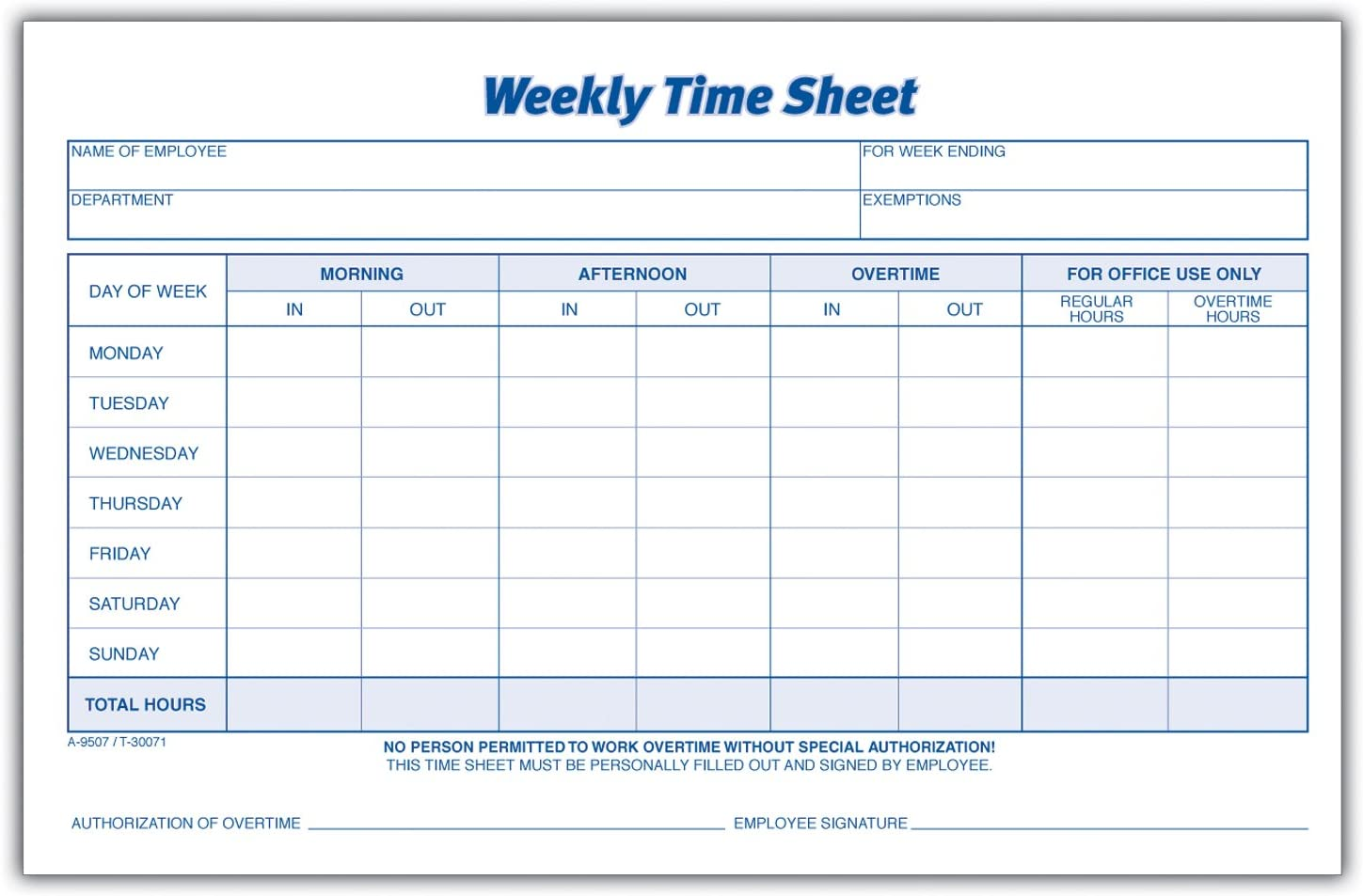 Adams Time Sheet 9 X 5 5 Inch Weekly Format 2 Part Carbonless 100 Pack White Canary Nc9507 Amazon Ca Office Products