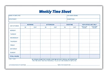 Amazon.com : Adams Time Sheet, 9 x 5.5 Inch, Weekly Format, 2-Part ...