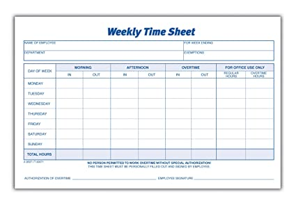 AmazonCom  Adams Time Sheet  X  Inch Weekly Format Part