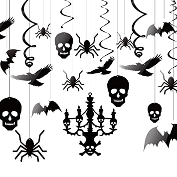 kuuqa halloween hanging decorations ceiling decoration of chandelier bat crow spider skull for haunted house decoration - Halloween Hanging Decorations