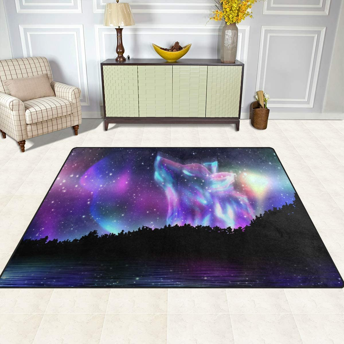 60 x 90 cm Galaxy Universe Animal Wolf Nursery Rug Floor Carpet Yoga Mat 2 x 3 ft Naanle Galaxy Forest Wolf Non Slip Area Rug for Living Dinning Room Bedroom Kitchen