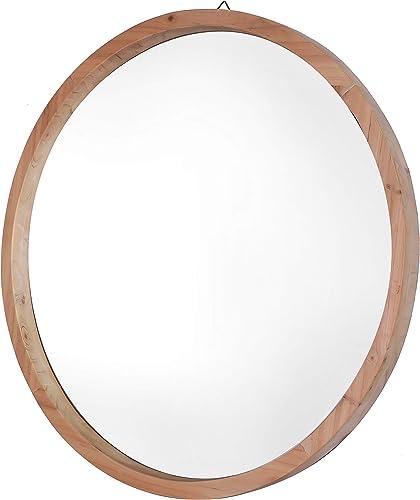 Mirrorize Decorative Modern Wood Frame Round Mirror