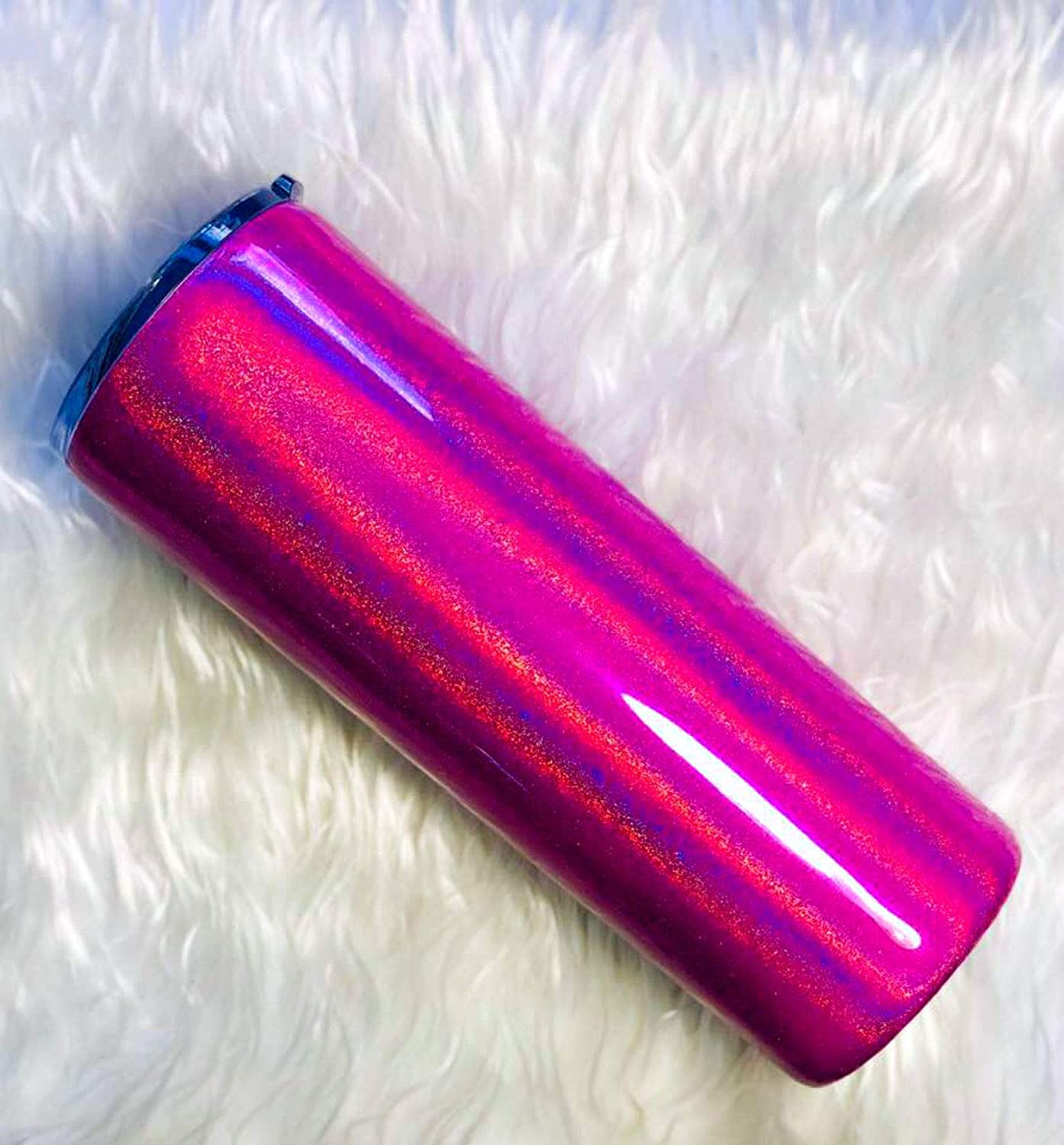 Skinny 20 oz Pink Insulated Custom Name Tumbler Gift for Mom Holographic Glitter Personalized Tumbler Linear Holographic Tumbler