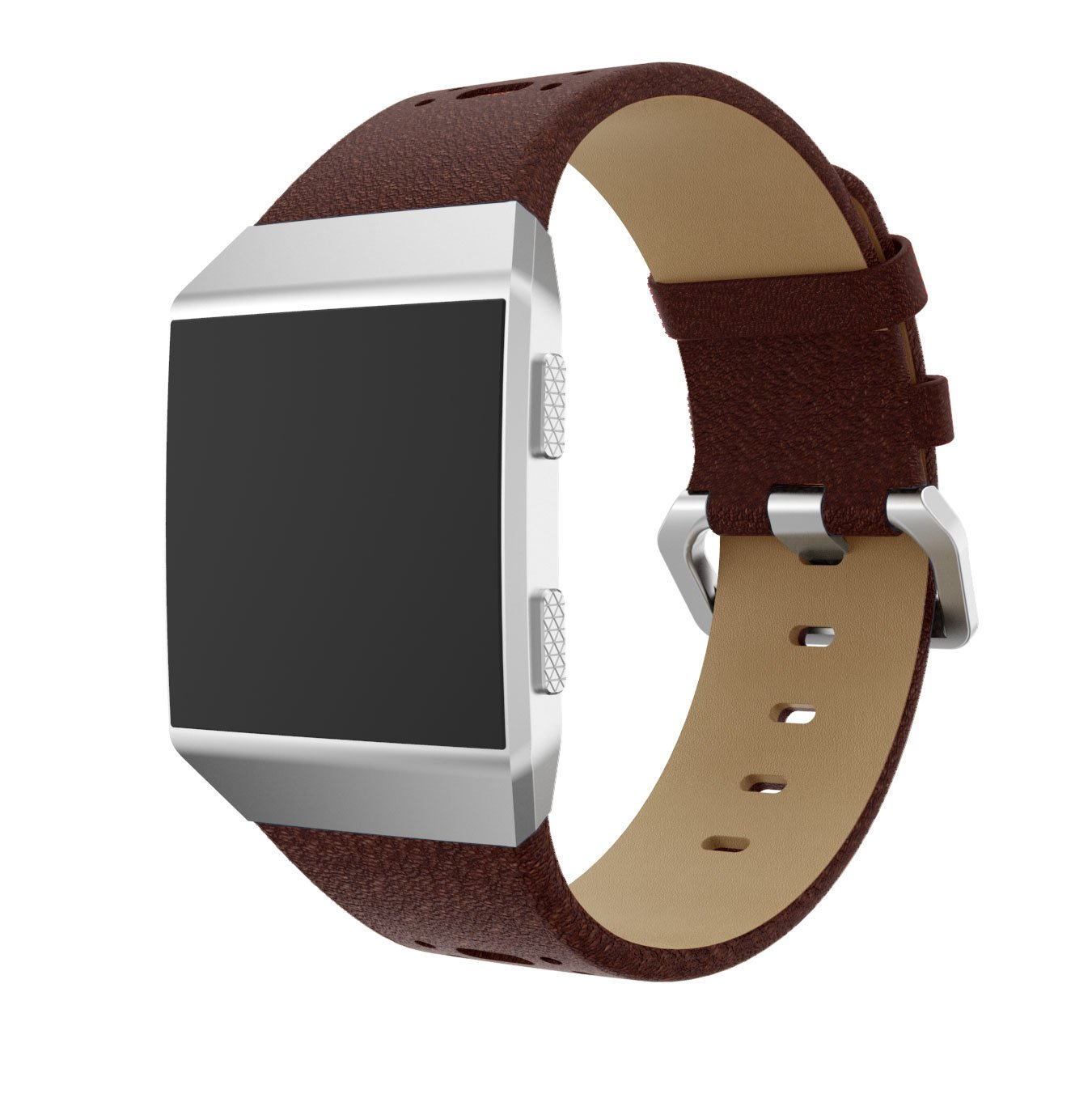 Hero Iand Bands for Fitbit Ionic Genuine Watchband Leather Strap Watch Band Replacement Wrist Bracelet Straps for Fitbit Ionic Wristband 8 colors for choose (Brown Red)