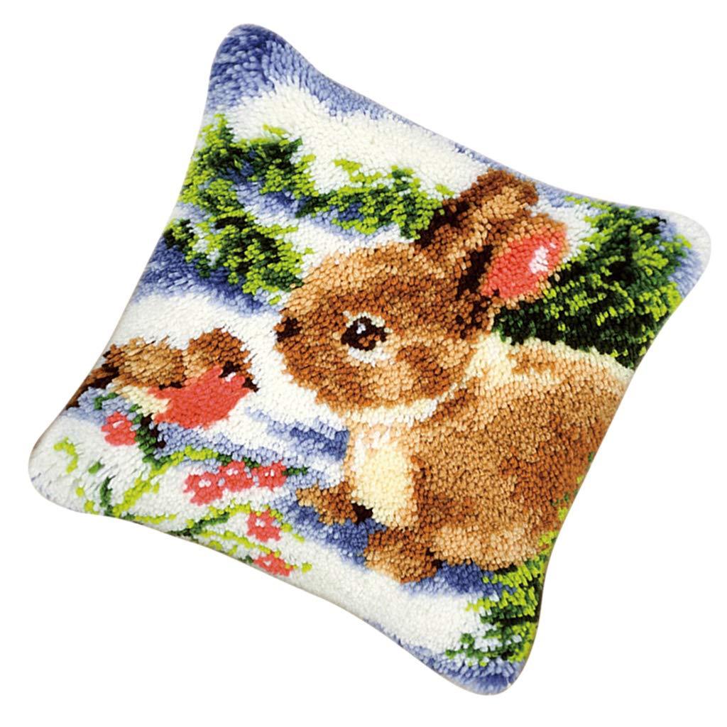 B Baosity DIY Kissen Hü lle Zierkissenbezü ge zum Selber Knü pfen, Knü pfwolle, Knü pfset fü r Kinder und Erwachsene - Kaninchen
