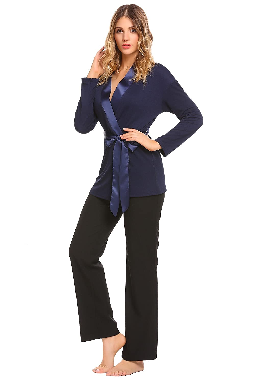 1a27446c43a5bd Keelied Damen Schlafanzug Langarm V Ausschnitt Zweiteiliges Pyjama Set  Kimono Satin Nachtwäsche mit Gürtel für Herbst Winter