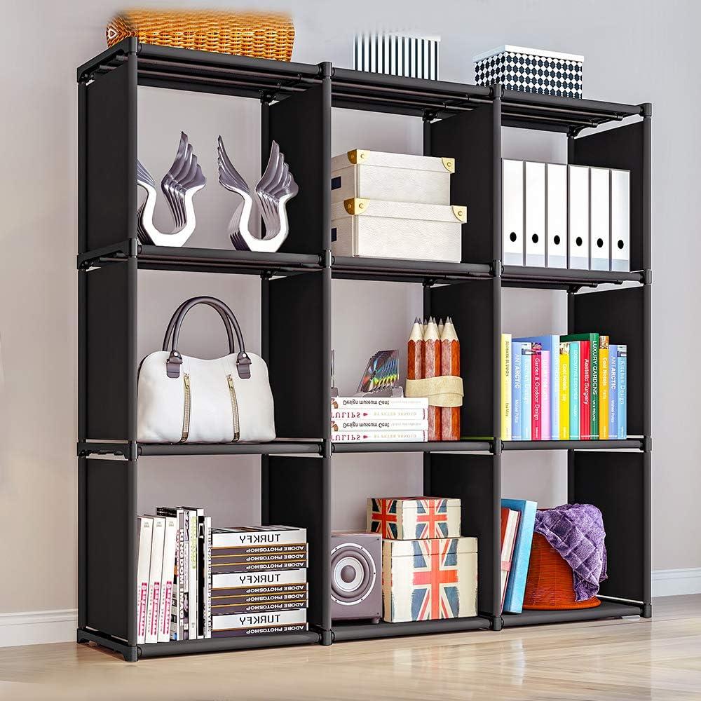 9-Cube Storage Rack, DIY Storage Shelves, Closet Organizer Cube Organizer Bookcase Bookshelf for Kids, Home Furniture Clothes Cabinets, for Bedroom Living Room Office, Black Black