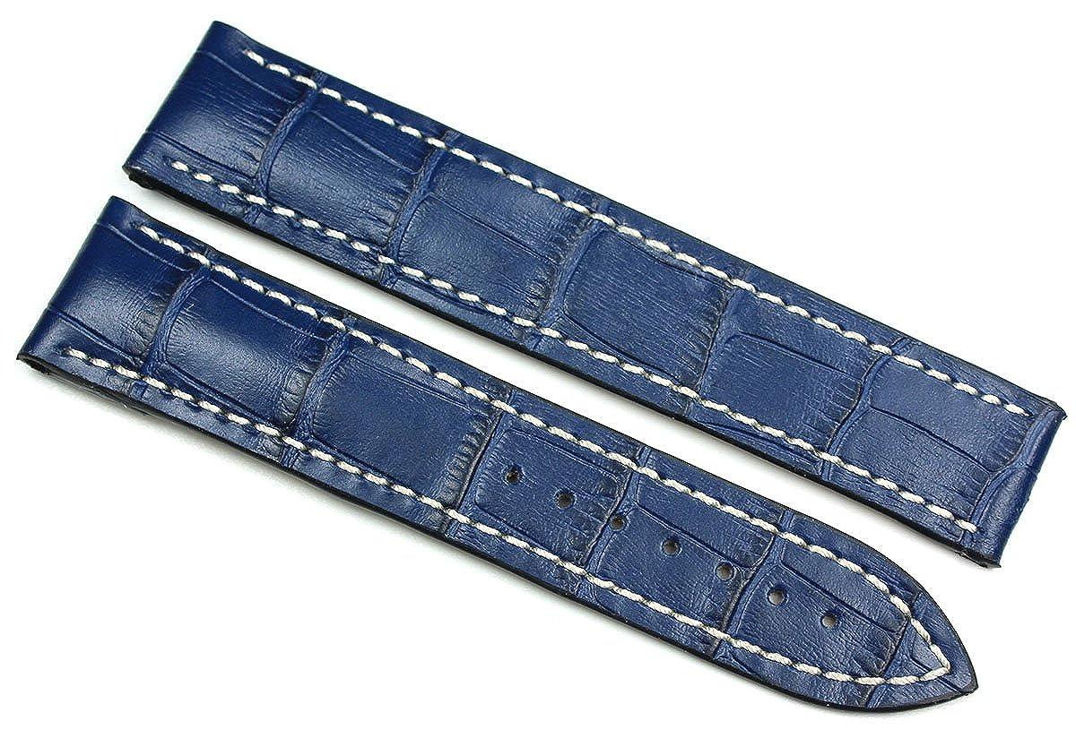 RIOS1931 20 mm/18 mm reloj de pulsera correa de piel auténtica hecha imitación cocodrilo. Banda Azul para cierre desplegable. Apta para Omega Alemania ...