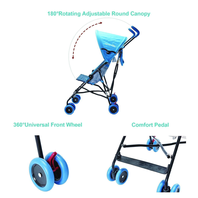 Pink Wonder Buggy Skyler Jumbo Umbrella Stroller with Rounded Hood
