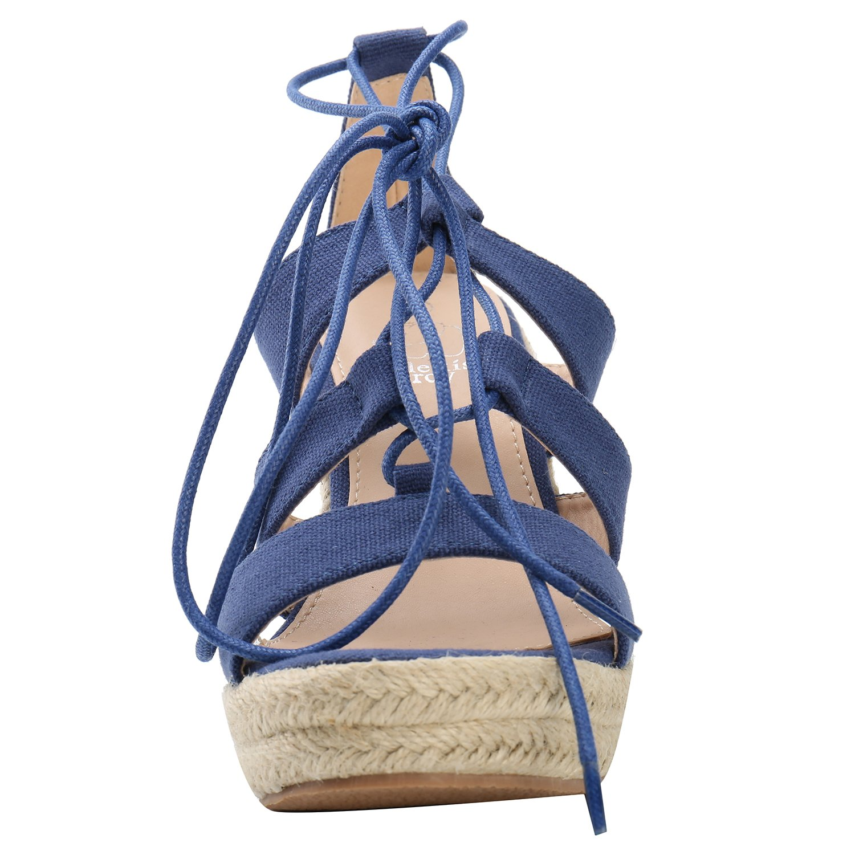 Alexis Leroy Gladiator Lace Up Espadrille Platform Women Wedge Sandals