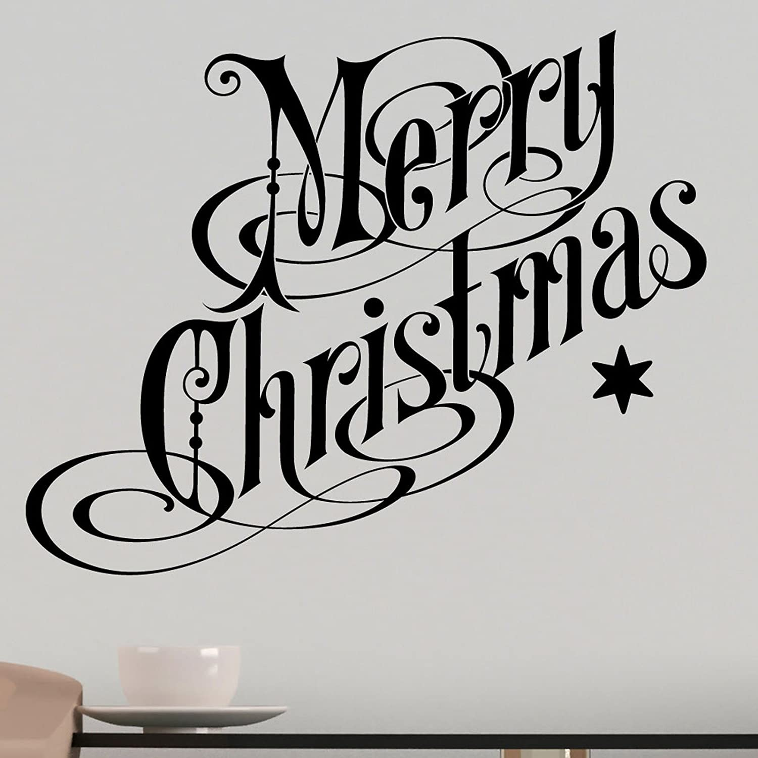 Christmas Wall Art Part - 38: Merry Christmas Wall Sticker Decal - Festive Wall Art Vinyl Xmas Decoration  - Choice Of 24 Colours - Removable Home Decor: Amazon.co.uk: Kitchen U0026 Home