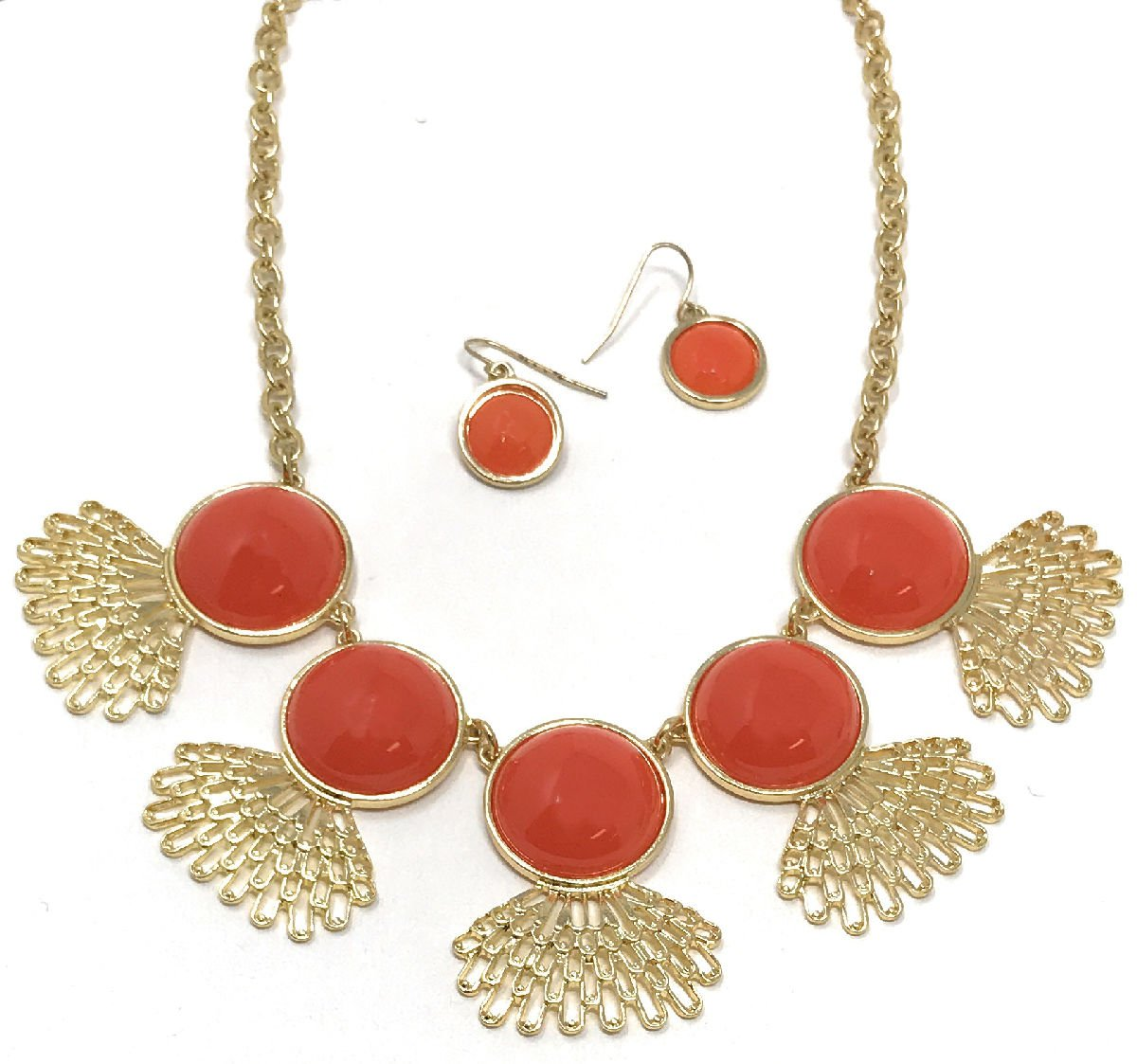 Women's Fashion Peacock Fan Bib Collar Statement Jewelry Earring Necklace Set by Dave's Collections