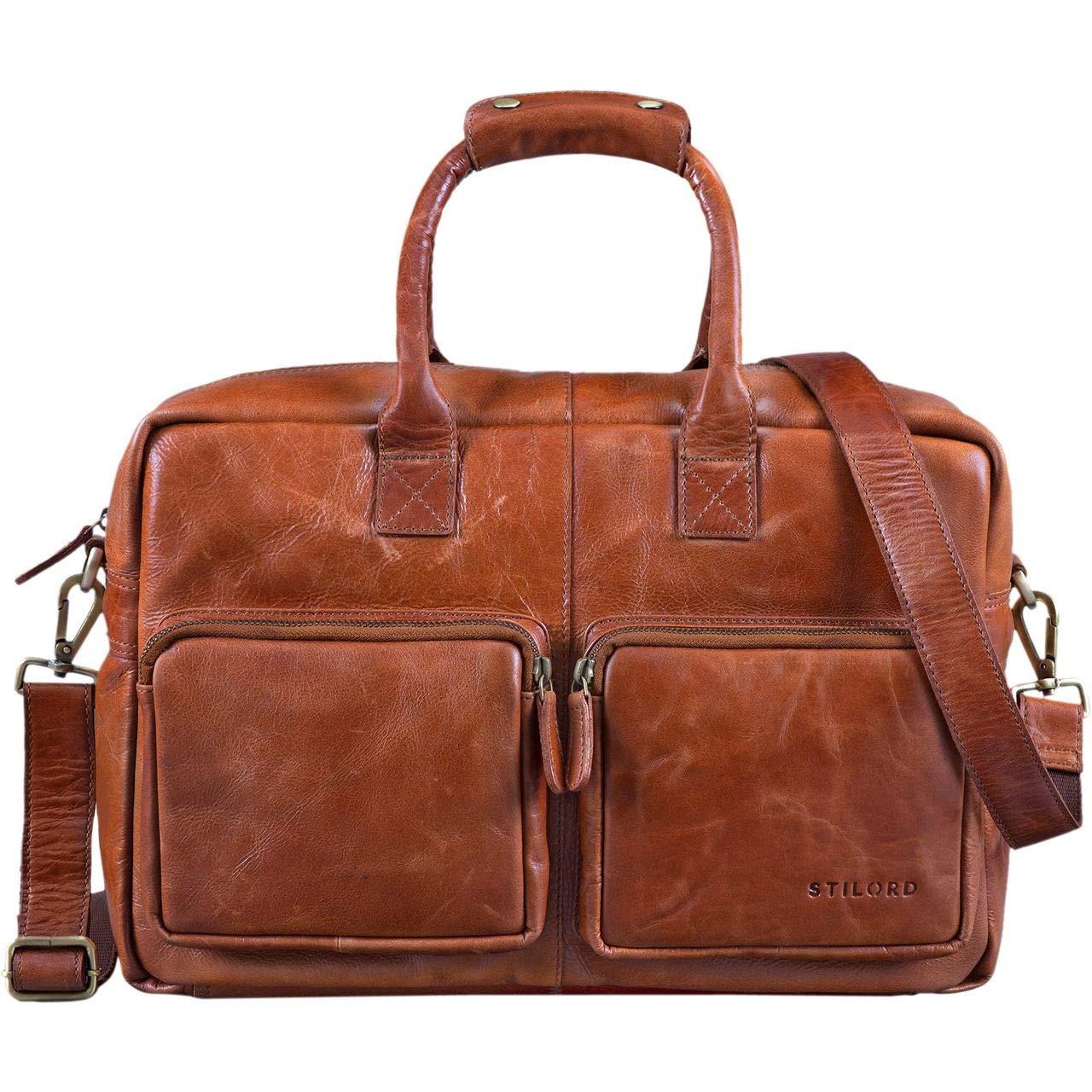 STILORD 'Henri' Briefcase Leather Vintage 15,6 Inch Business Bag Laptop MacBook University Buffalo Leather, Colour:Black