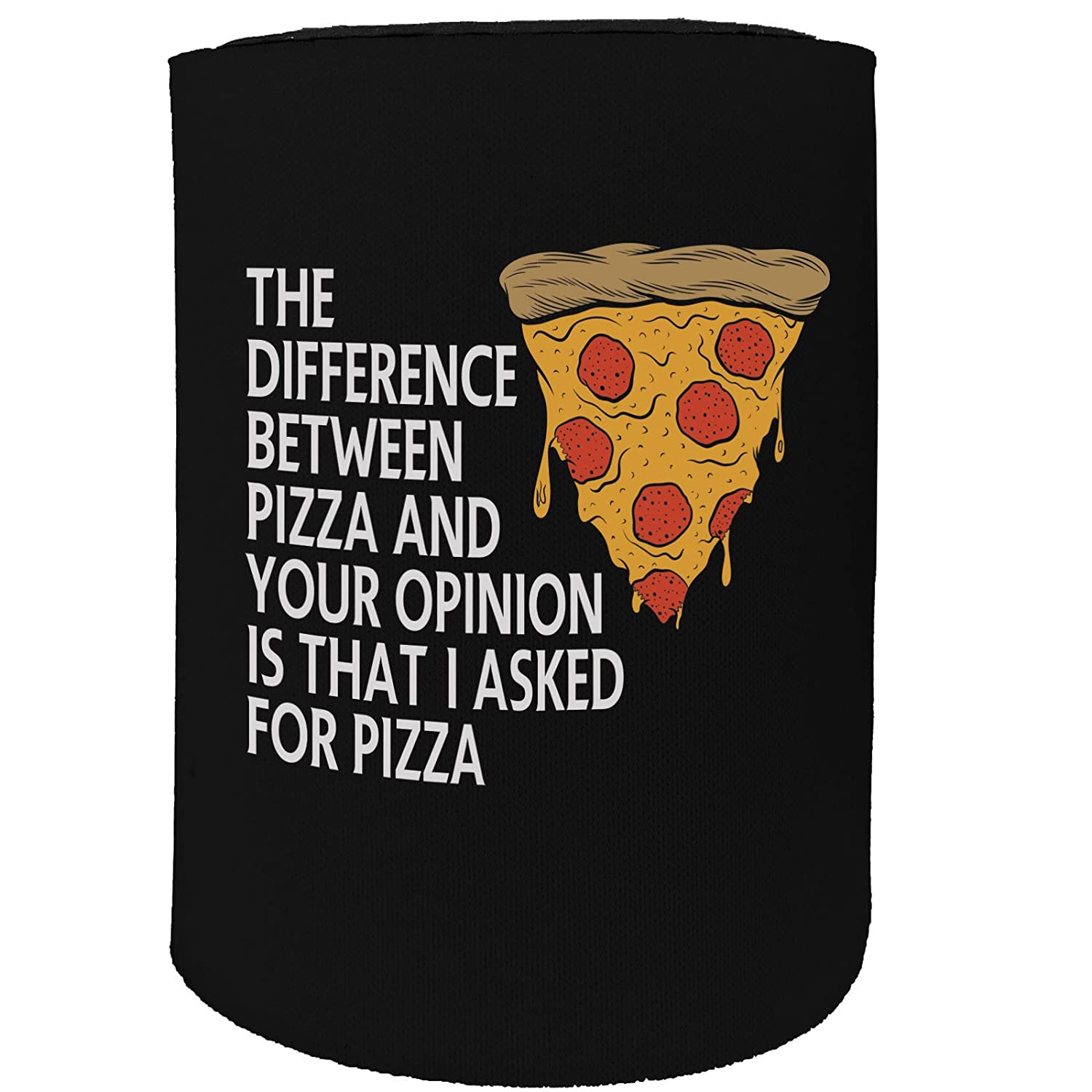 123t Stubby Holder - Difference Between Pizza - Funny Novelty Birthday Gift Joke Beer Can Bottle Coolie Koozie Stubbie