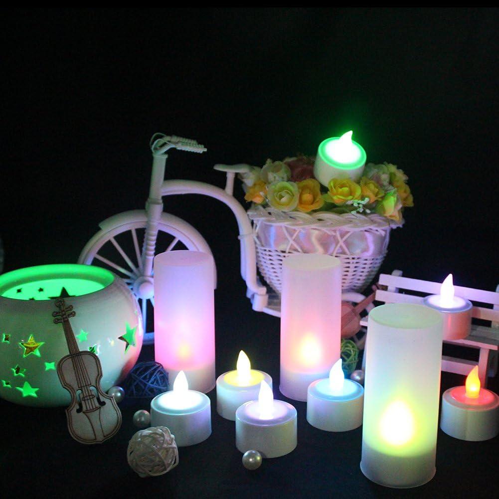 Cold white with remote EuroFone Recargable LED Candle t/é Luces Tealights Vela Sin Llama Con Taza de Titular 6pcs