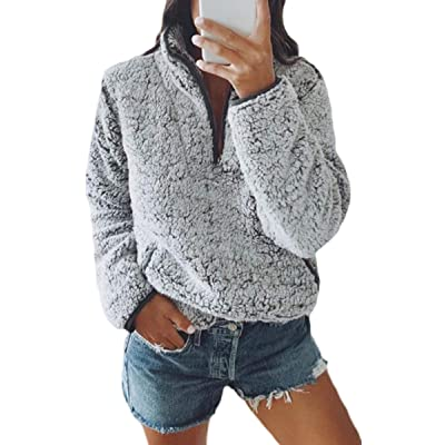 Angashion Fleece 1/4 Zip Up Fuzzy Sherpa Pullover Sweatshirt Fluffy Outerwear Coat for Women with Pockets at Amazon Women's Clothing store