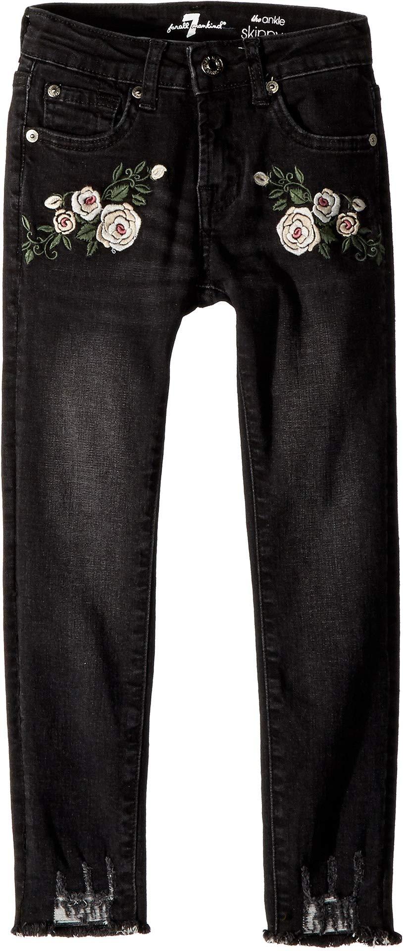 7 For All Mankind Kids Girl's Ankle Skinny Stretch Denim Jeans in Vintage Noir (Big Kids) Vintage Noir 7