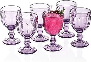 Omita Stem Wine Goblet Set of 6 Bule-Purple 10.2 oz Vintage Embossed Glass Beverage Jucie Cup Perfect for Dinner Parties Bars & Restaurants…