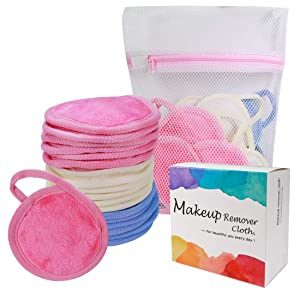Natwag Makeup Remover Pads,18 Pack 3.74 Inch Reusable Microfiber Cleansing Pad with Laundry Bag Suitable for All Skin Types,3 Color Facial Cleansing Pad Set.