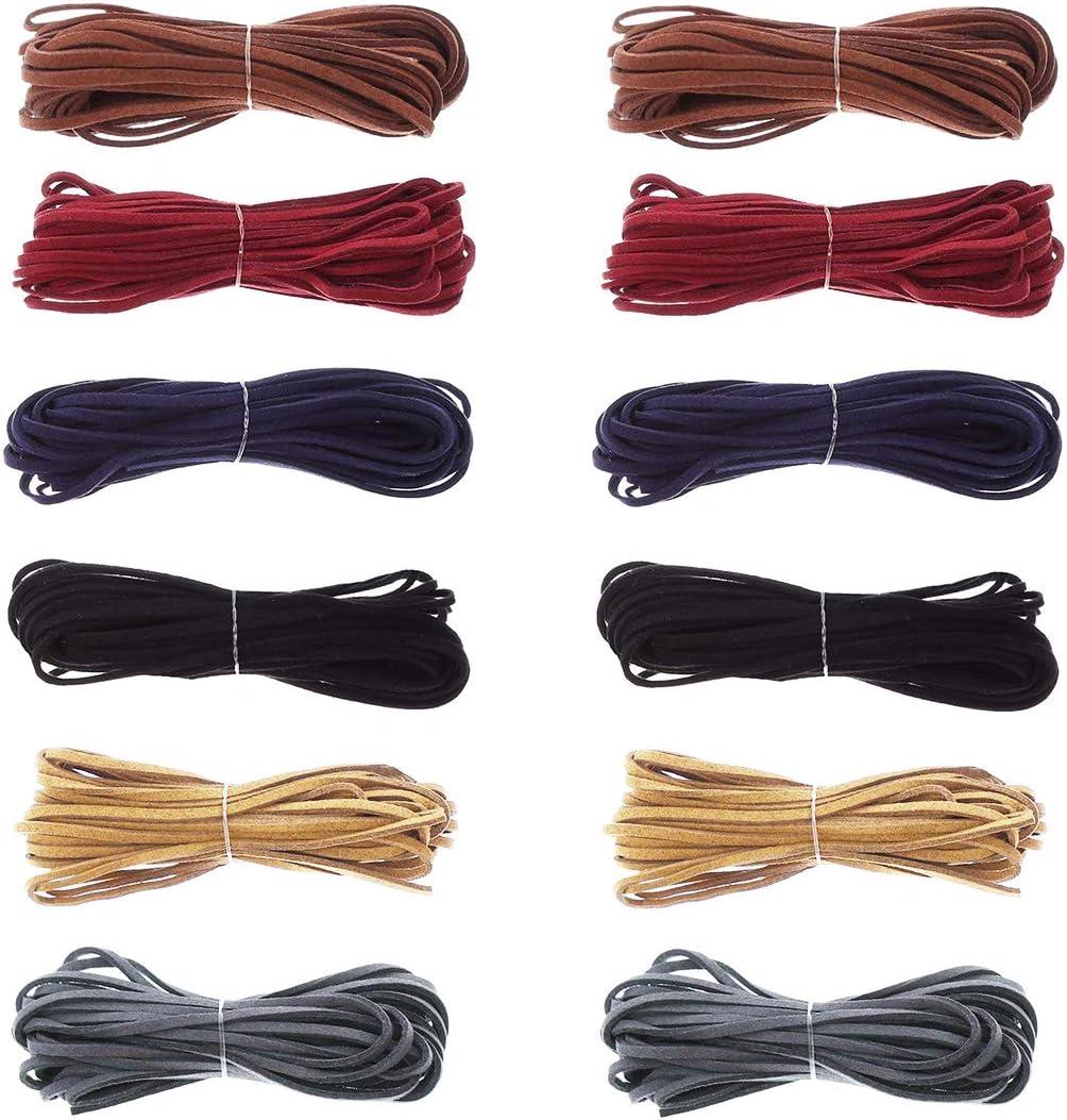 3 mm x 50 m correa de piel, 12 unidades Vintage cuerda de piel para pulsera, collar, DIY cuero cadena, marrón y negro, 6 colores