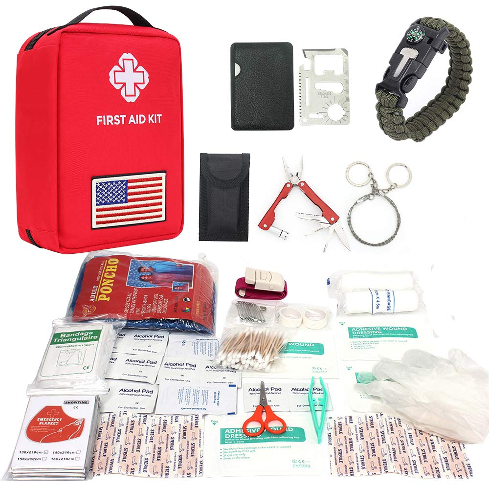 CS Force First Aid Kit, 55Pcs Emergency Survival Kit Molle Pouch EDC Outdoor Multi-Tools with Medical Supply, Survival Bracelet, Emergency Blanket for Camping, Hiking, Outdoor Adventure, Wilderness by CS Force