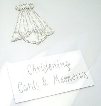 Amazon.com: White Cotton Cards Tarjeta de bautizo vestido de ...