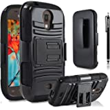 Galaxy Light Case, Samsung Galaxy Light Case, Premium Heavy Duty Combo Case with Stand Holster And Belt Clip Black + Circle(TM) Stylus Touch Screen Pen