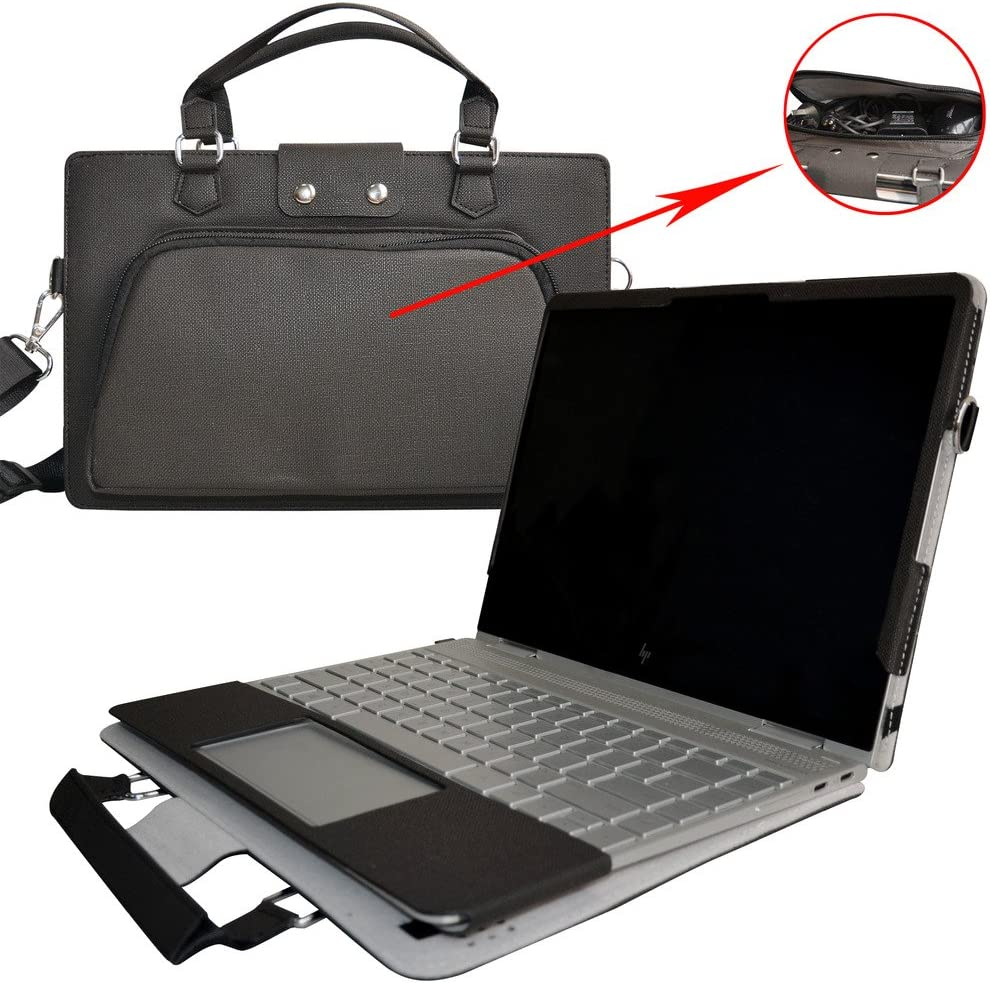 """Spectre x360 15 Case,2 in 1 Accurately Designed Protective PU Leather Cover + Portable Carrying Bag for 15.6"""" HP Spectre x360 15 15-ap000 Series Laptop(Not fit Spectre x360 15 15-bl000),Black"""