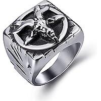 Elfasio Mens Baphomet Goat Pentagram Devil Shar Retro Stainless Steel Ring Punk Jewelry Size 10
